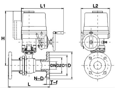 dimension for Electric Actuated Ball Valve with Explosion Proof Actuator