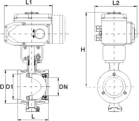 Electric Actuated V Port Segmented Ball Valve